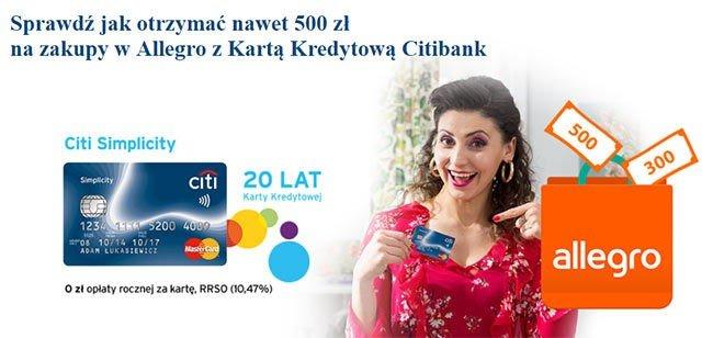 Voucher Allegro za wyrobienie karty kredytowej Citibanku