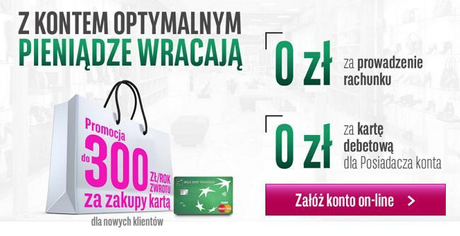 BGŻ BNP Paribas konto optymalne zwrot 300 zł